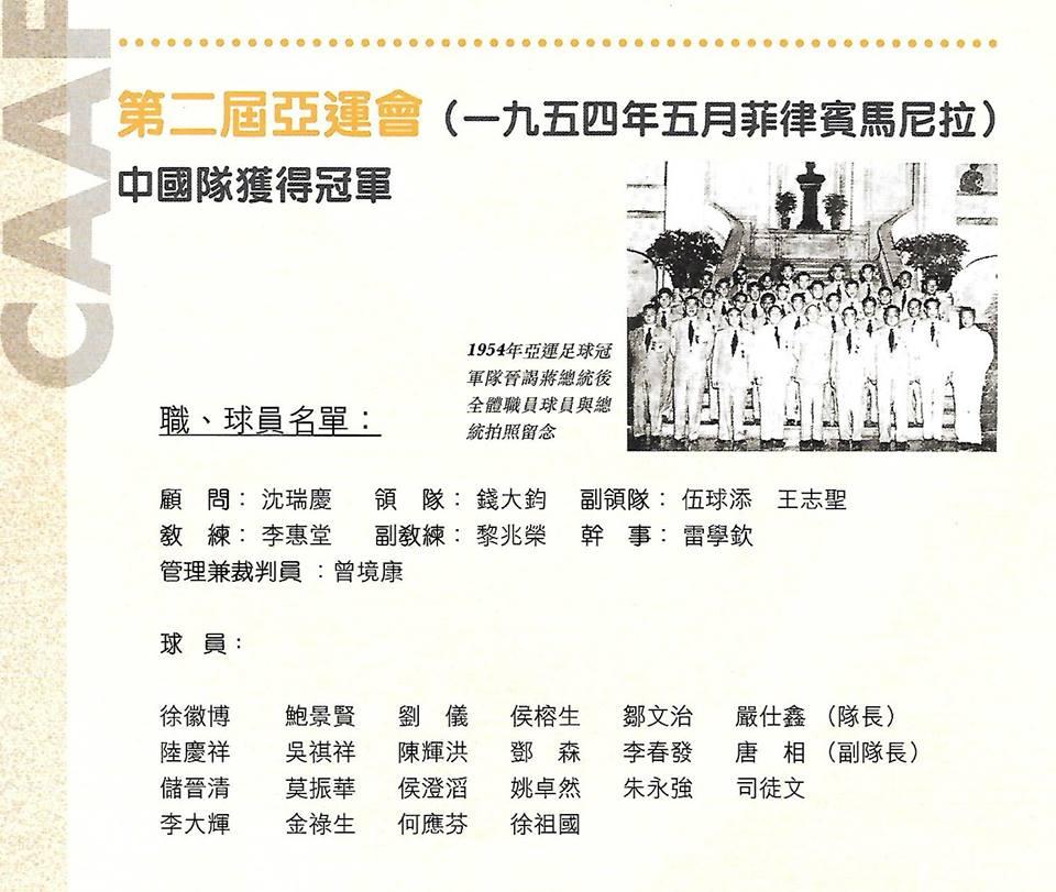 香港足球名宿劉儀 1954年馬尼拉亞運